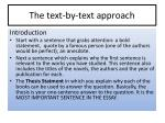 the text by text approach