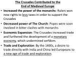 the crusades contributed to the end of medieval europe