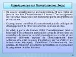 cons quences sur l investissement local