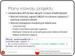 plany rozwoju projektu
