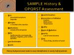 sample history opqrst assessment