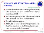 csma ca with rts cts for ad hoc networks