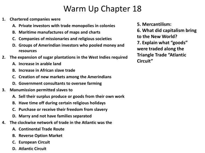 Warm up chapter 18