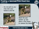 freeing a jammed pick head axe