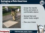swinging a pick head axe