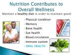 nutrition contributes to overall wellness