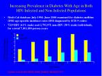 increasing prevalence in diabetes with age in both hiv infected and non infected populations