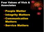 four values of vick associates