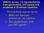 uneca survey 112 representatives from government civil society and academia in 32 african countries