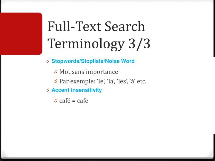 Full-Text Search Terminology 3/3