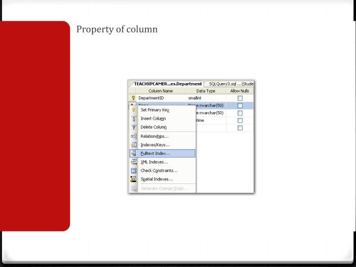 Property of column