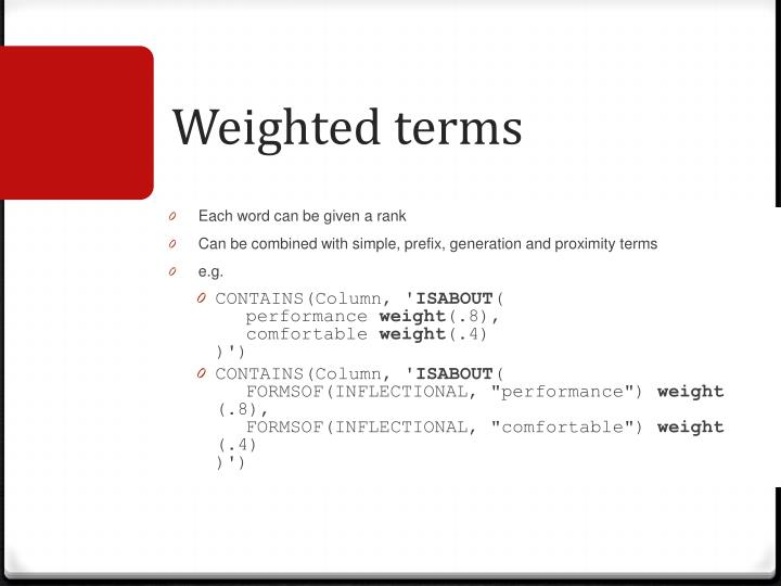 Weighted terms