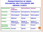 characteristics of cross pollinated self pollinated and asexual plants