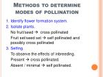 methods to determine modes of pollination