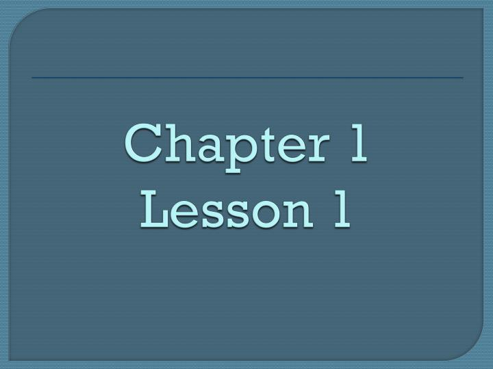 chapter 1 lesson 1 n.
