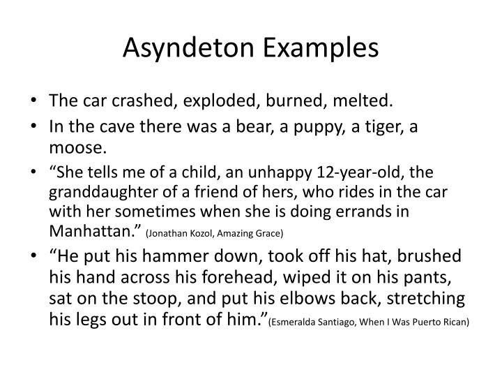 asyndeton examples in literature