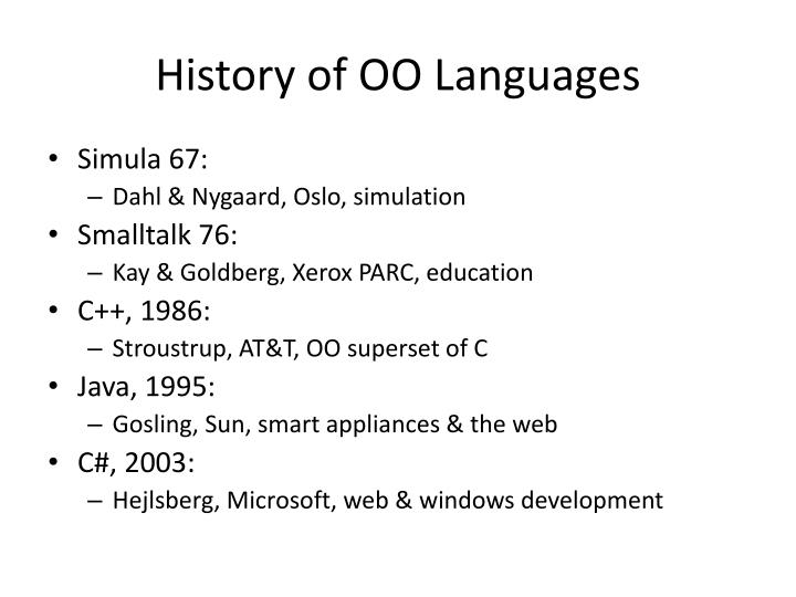 History of OO Languages