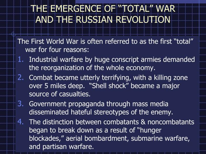 the emergence of total war and the russian revolution n.