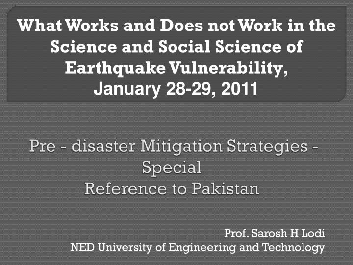 pre disaster mitigation strategies special reference to pakistan n.