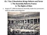 ch 7 sec 2 revolution brings reform and terror i the assembly reforms france a the rights of man