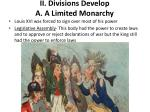 ii divisions develop a a limited monarchy