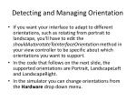 detecting and managing orientation