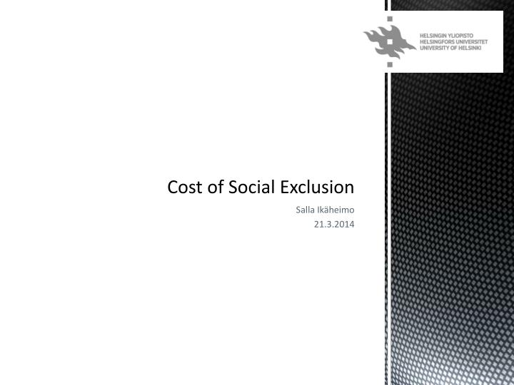 cost of social exclusion n.