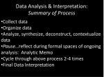 data analysis interpretation summary of process