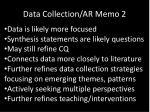 data collection ar memo 2