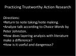 practicing trustworthy action research