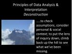 principles of data analysis interpretation deconstruction