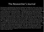 the researcher s journal