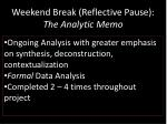 weekend break reflective pause the analytic memo