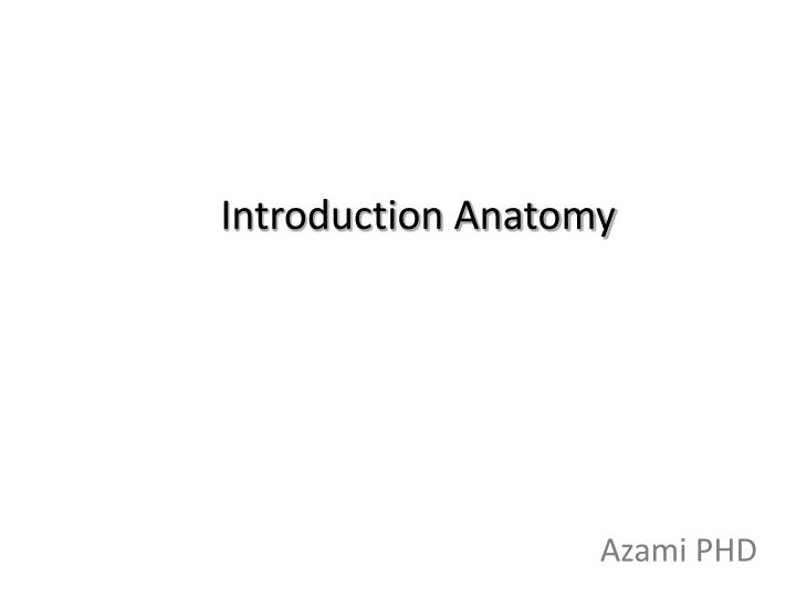 introduction anatomy n.