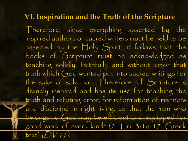 VI. Inspiration and the