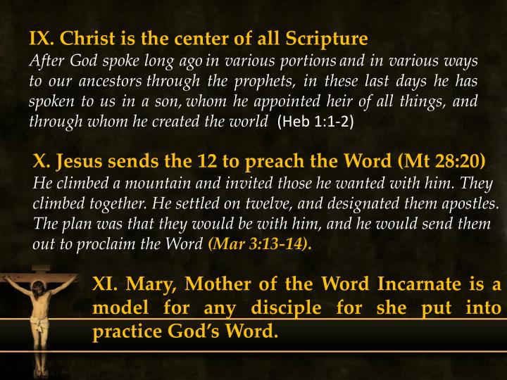 IX. Christ is the center of all Scripture