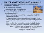major adaptations of mammals