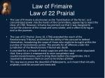 law of frimaire law of 22 prairial