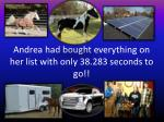 andrea had bought everything on her list with only 38 283 seconds to go