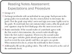 reading notes assessment expectations and procedure