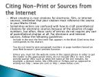 citing non print or sources from the internet