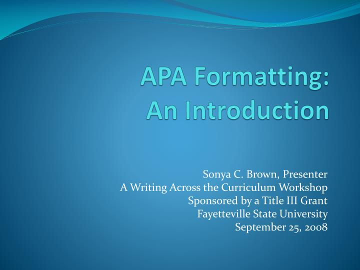ppt apa formatting an introduction powerpoint presentation id