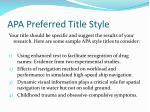 apa preferred title style