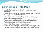 formatting a title page