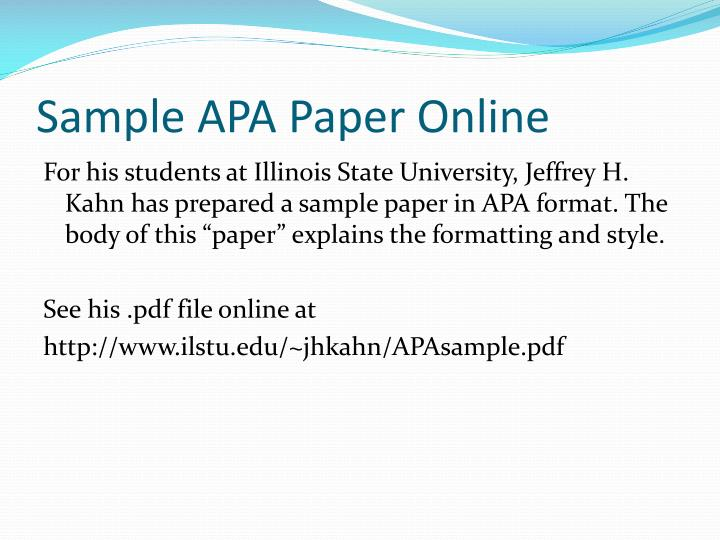 apa format sample papers For most assignments written in apa format, a correctly laid out apa title page is essential home it's the very first part of your paper that anyone.