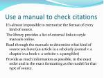 use a manual to check citations