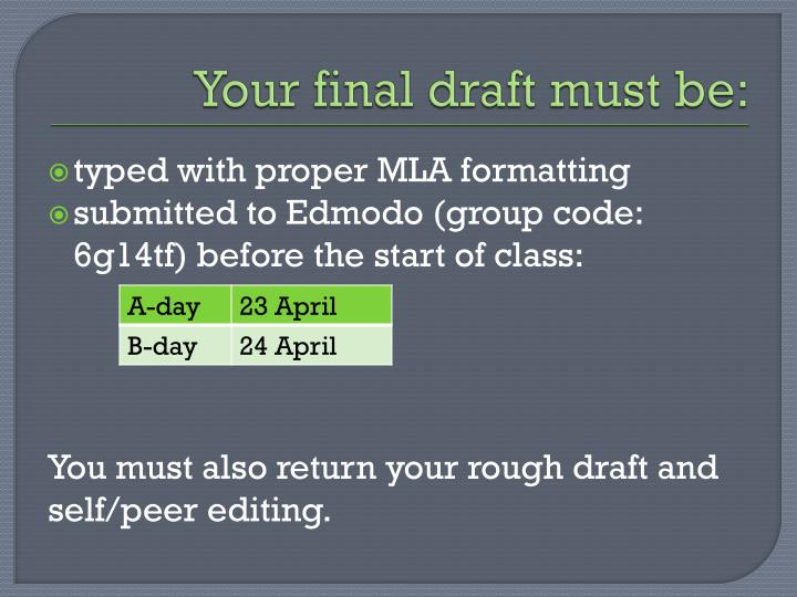 Your final draft must be: