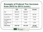 example of federal tax increase from 2012 to 2013 cont