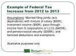 example of federal tax increase from 2012 to 2013
