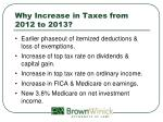 why increase in taxes from 2012 to 2013